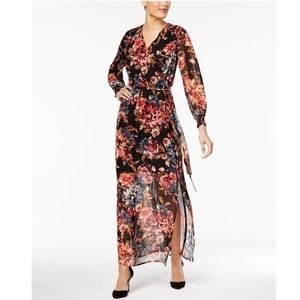 New Eci Roshelle Floral Wrap Maxi Dress Size 12
